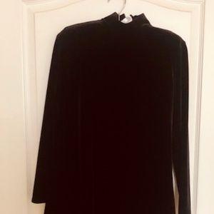 Gorgeous  Petite  Long Sleeve Black Velvet Dress!